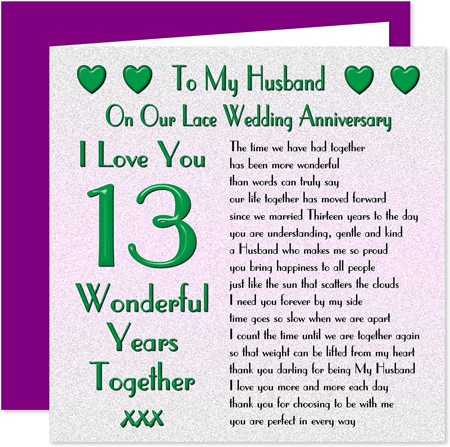 My Husband 8th Wedding Anniversary Card - On Our Lace Anniversary - 8  Years - Sentimental Verse I Love You