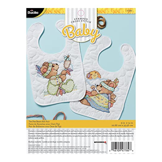 Bucilla 47784 Tee Pee Bears Stamped Cross Stitch Kit, 9