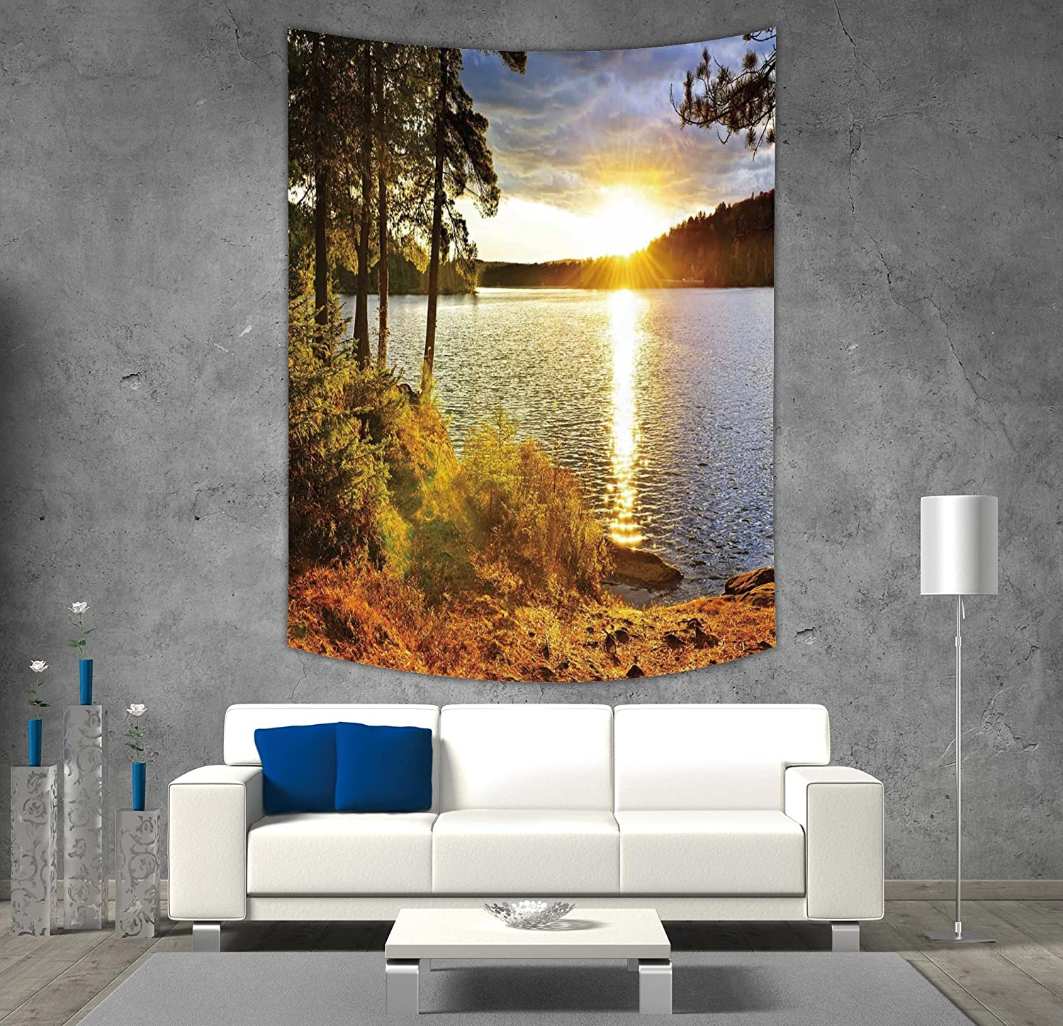 iPrint Polyester Tapestry Wall Hanging,Landscape,Sunset Dawn in the Forest over Lake of Two Rivers Algonquin Park Ontario Canada,Multicolor,Wall Decor for Bedroom Living Room Dorm
