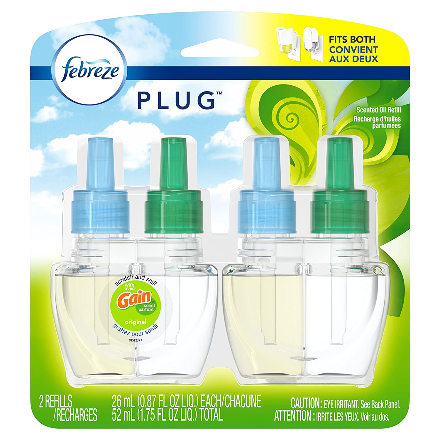 Febreze NOTICEables Gain Original Air Freshener Refill (2 Count; 26 mL each)- Packaging May Vary PG-3639