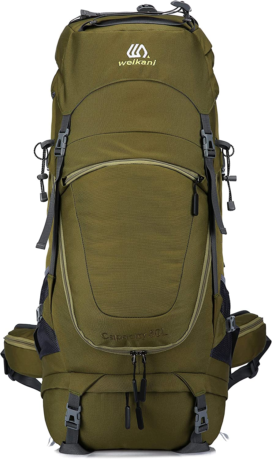 Weikani Internal Frame Hiking Backpack 60L/80L with Rainfly Suitable for Travel Hunting Camping Mountain