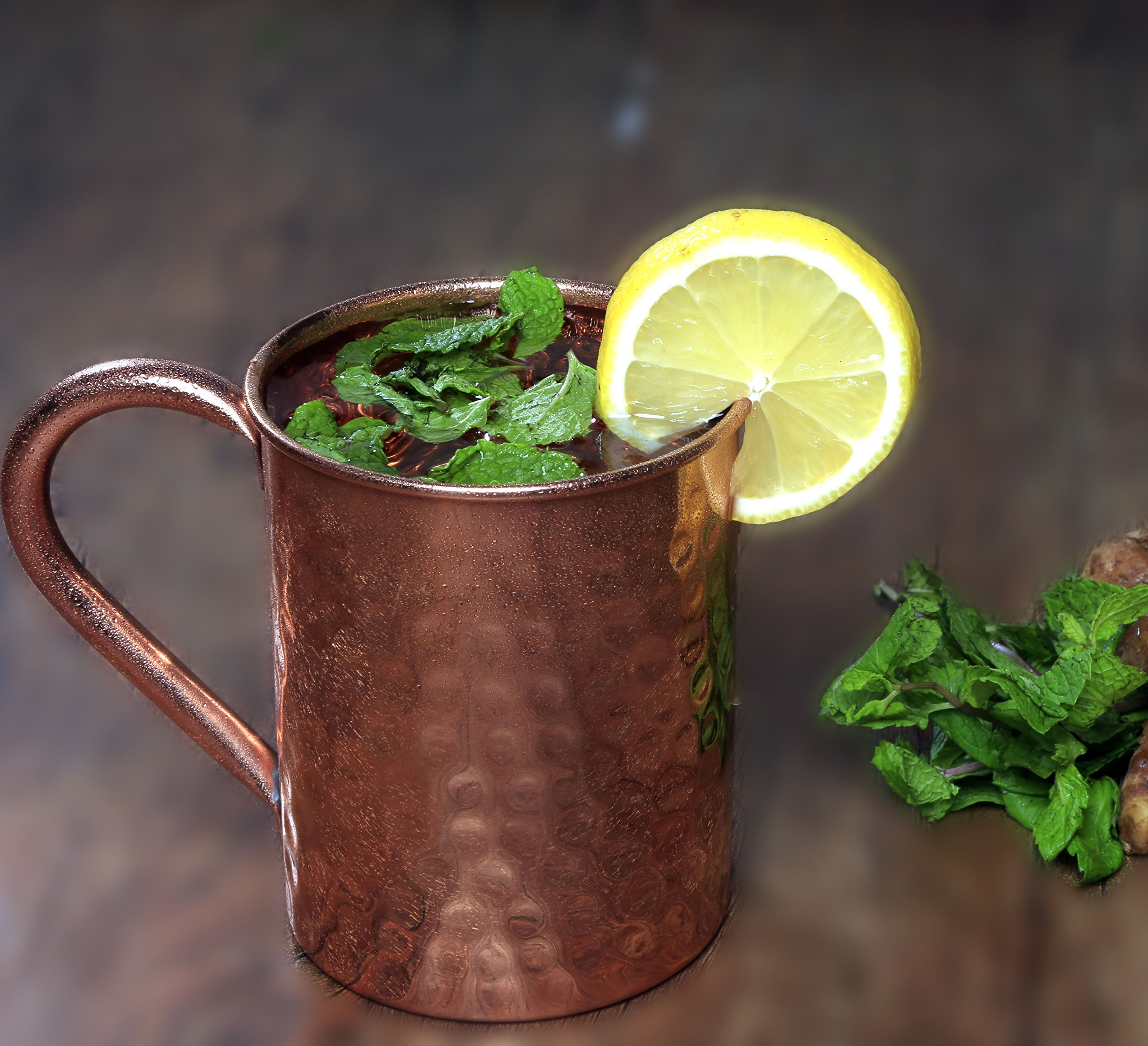Melange Set of 4 Copper Classic Mug for Moscow Mules - 16 oz - 100% Pure Hammered Copper - Heavy Gauge - No lining - Includes FREE Recipe book