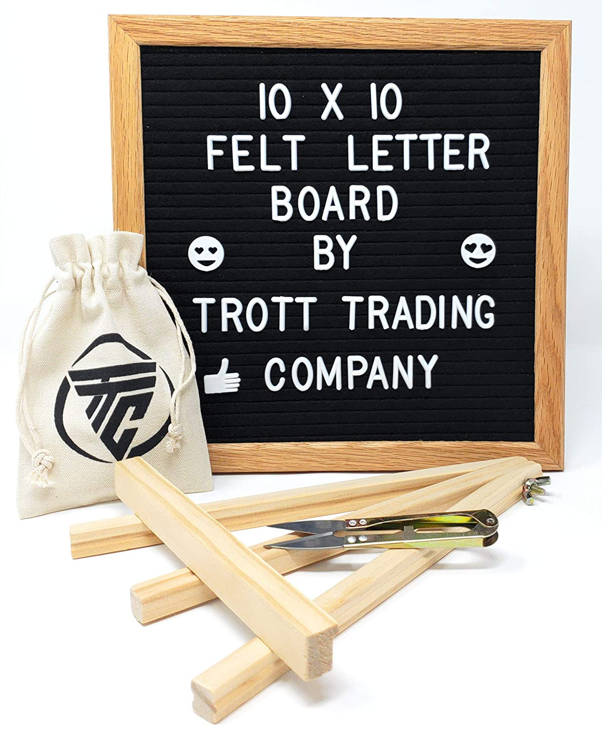 Felt Letter Board with Wooden Stand. Message Board That Includes 335 White Letters and Emoji. Black 10x10 inch Letter Board with Oak Frame, Scissors, Wall Hanger, Stand and Letter Bag. TrottTradingCompany MCBLK001
