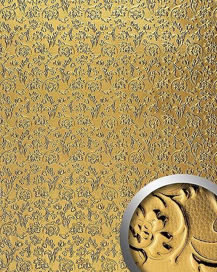 Panel decorativo autoadhesivo diseño flores barrocas relieve WallFace 14267 FLORAL 3D aspecto metal dorado 2,