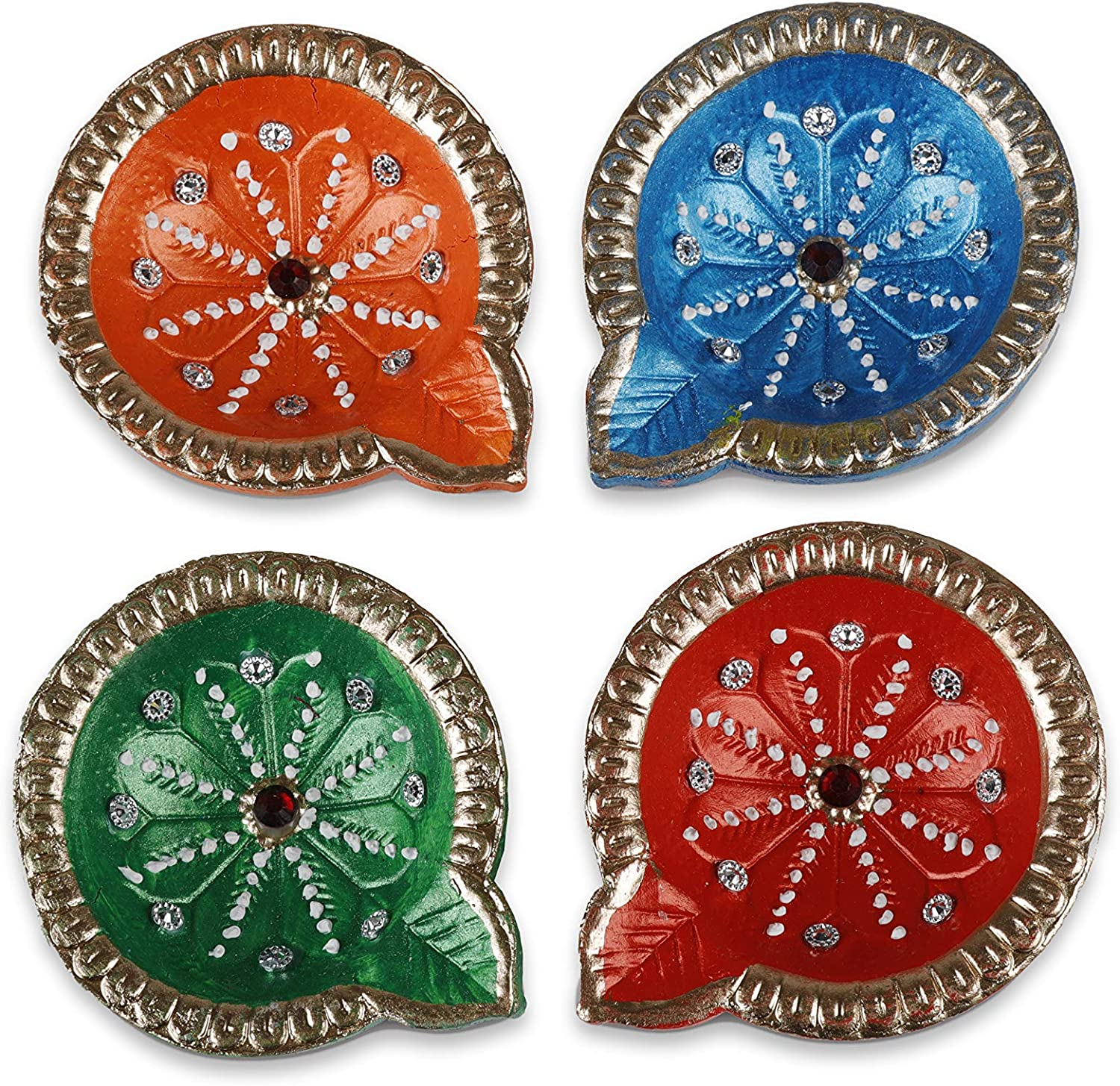 Tuelip Handmade Traditional Terracotta Clay Diya Diwali Earthen Oil Lamp Indian Gift Items Dia Multi Color Pack of 4