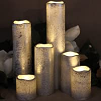 "LED Lytes Silver Flameless Timer LED Candles - Slim Set of 6, 2"" Wide and 2""- 9"" Tall, Rustic Silver Coated Wax and Flickering Warm White Flame by Flameless Candles"