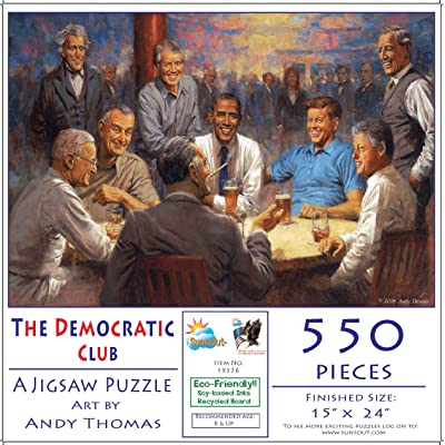 The Democratic Club 550 pc Jigsaw Puzzle by SunsOut: Toys & Games