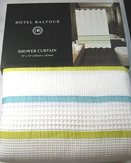 Hotel Balfour Premium Quality Fabric Shower Curtain White And Multi Color 100 Cotton