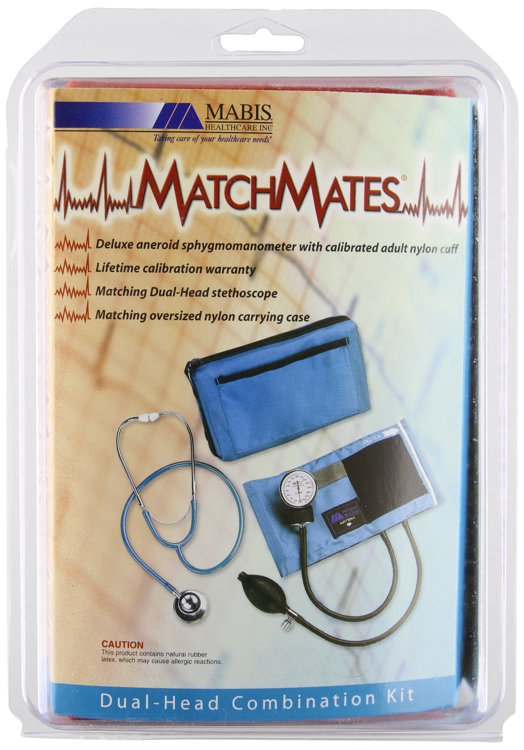 MABIS MatchMates Aneroid Sphygmomanometer and Dual Head Stethoscope Combination Home Blood Pressure Kit with Calibrated Nylon Cuff, Professional Quality, Carrying Case, Red