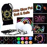 Flames 'N Games Kids LED Glow POI Set + Travel Bag! SOFT & SAFE Light Weight Multi Functioning Glow LED Poi Set (incl.Batteries)