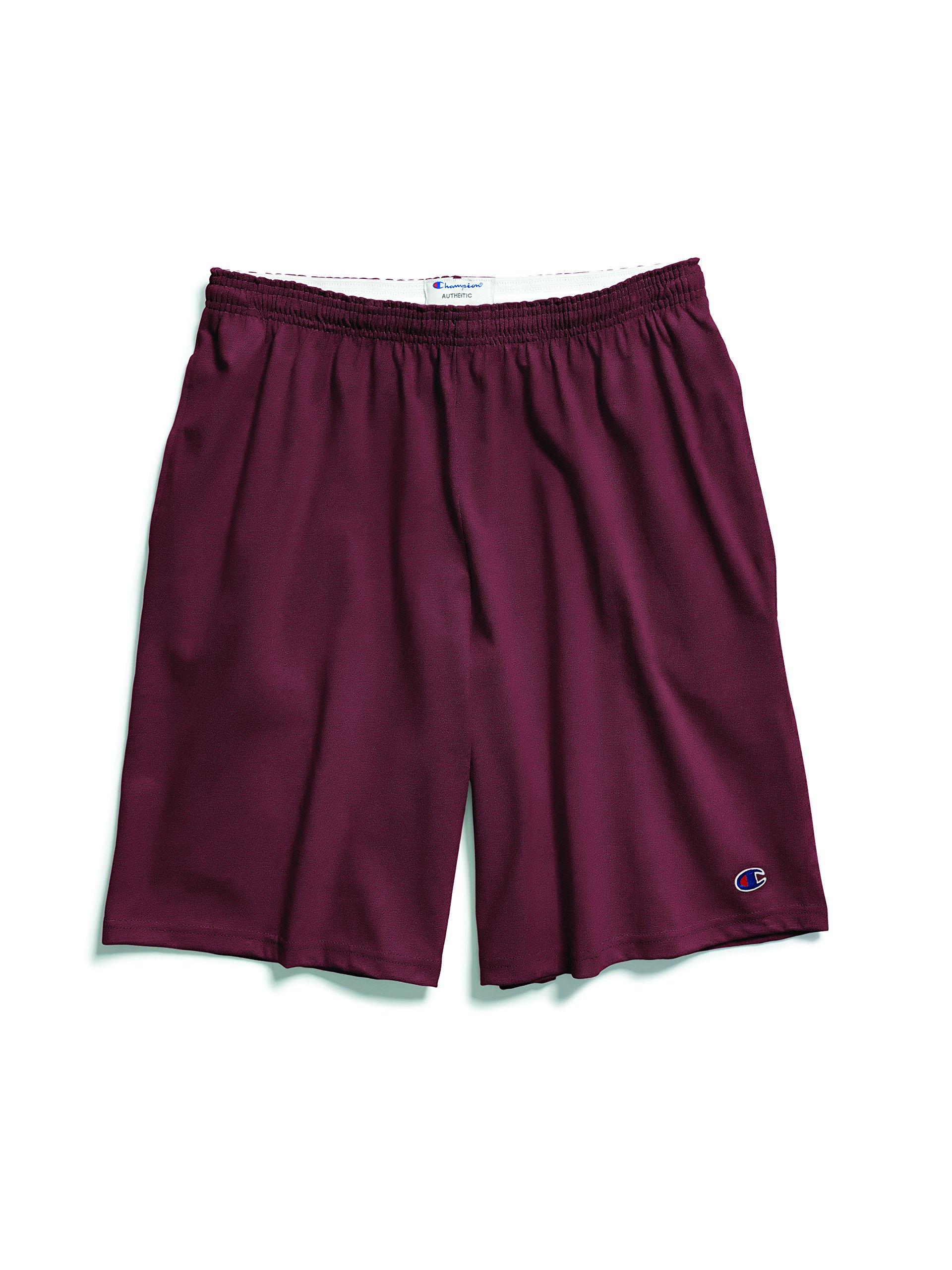 Champion Men's Jersey Short with Pockets, Maroon, Medium