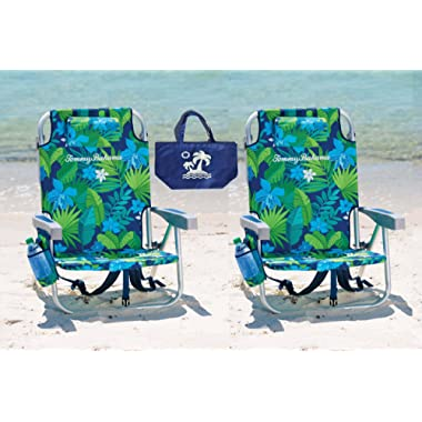 2 Tommy Bahama Backpack Beach Chairs (Green Flowers + Green Flowers) + 1 Medium Tote Bag