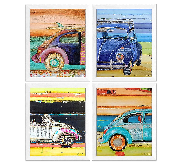 Antique Classic Cars Art Prints, Set of 4, Danny Phillips Fine Art, Mixed Media Collage Artwork, Coastal Wall Decor, 8x10 Inches