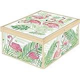 Lavatelli Collection Scatola Flamingos, Cartone, Multicolore, 39x50x24 cm
