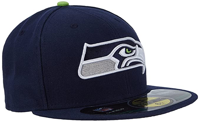 Amazon.com   NFL Mens Seattle Seahawks On Field 5950 Slate Game Cap By New  Era   Sports Fan Baseball Caps   Clothing 0033f9538295