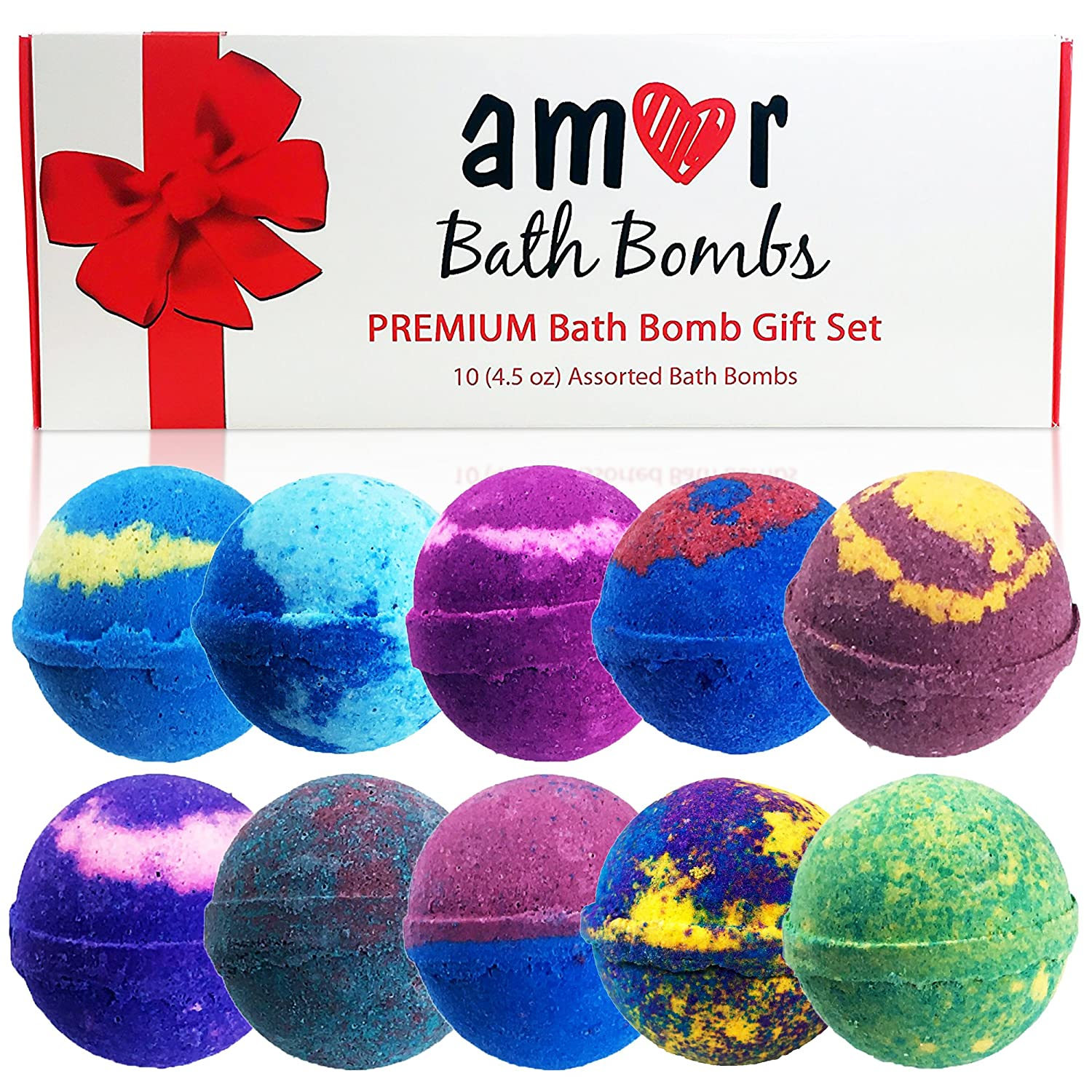 Amazon.com : AMOR 10 Bath Bomb Gift Set : Essential Oils Lush Bath Bombs  Set In Deluxe Package/100% Organic Vegan USA  Handmade Bath Fizzies Spa  Skin ...