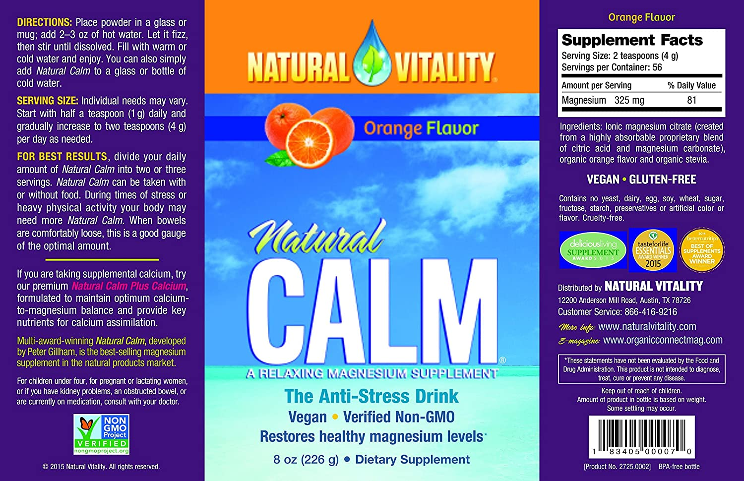 NATURAL VITALITY CALM, 8 OZ by Natural Vitality: Amazon.es: Salud y cuidado personal