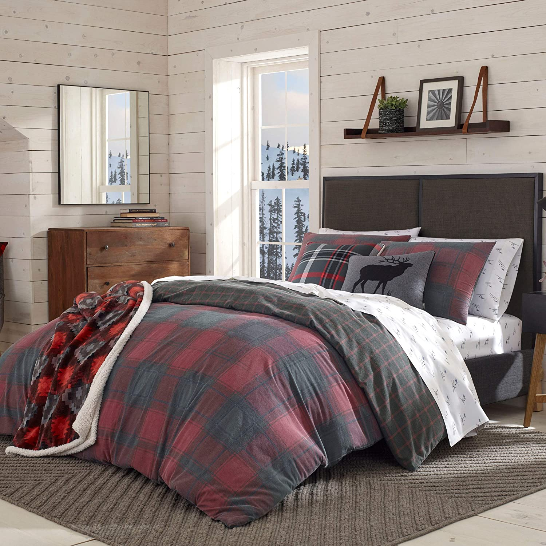 Eddie Bauer Home | Cattle River Collection | 100% Cotton Soft & Cozy Premium Quality Plaid Duvet Cover Matching Shams, 3-Piece Bedding Set, Machine Washable, King, Red