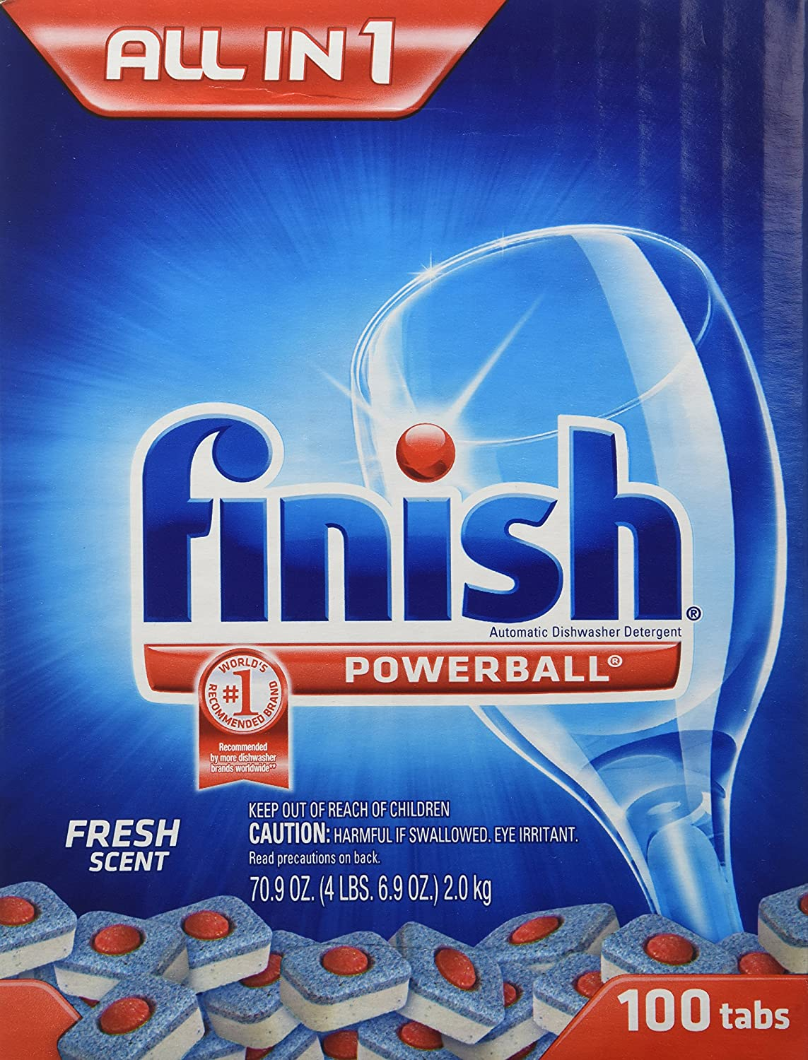 Amazon.com: Finish Max In 1 Plus Dishwasher Detergent 110 Count Easy To Use  Wrapper Free Powerball Tabs In Convenient Mess Free 4 Lb Snap Top Plastic  Tub ...