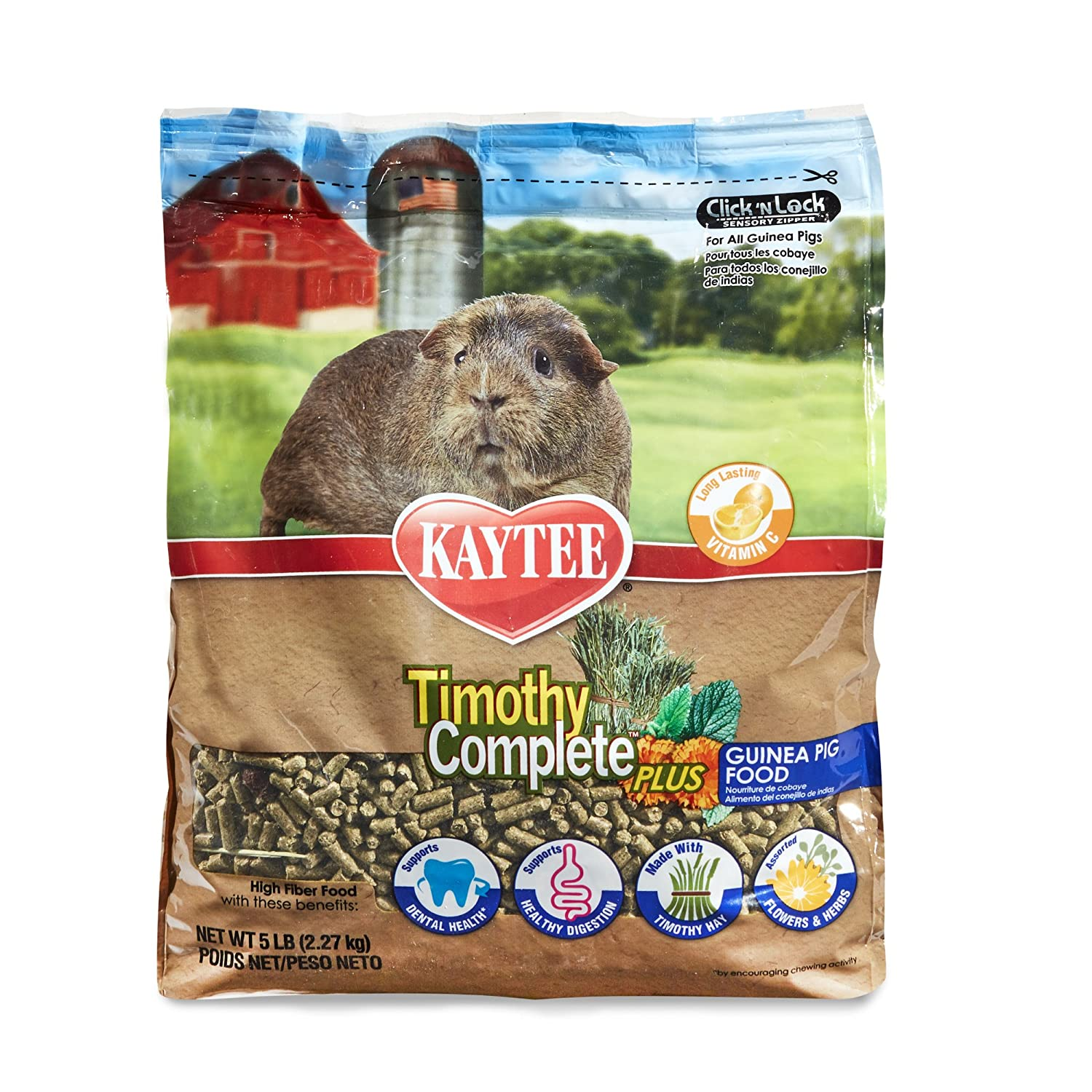 5 Pounds Kaytee Timothy Hay Complete Plus Flowers and Herbs Guinea Pig Food, 5Lb Bag