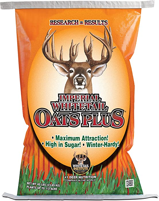 Whitetail Institute Oats Plus Deer Food Plot Seed - Premium, High-Sugar Oat Variety Establishes and Grows Quickly and is Highly Attractiveto Deer - Cold Tolerant and Winter Hardy, 45 lbs (.5 Acre)