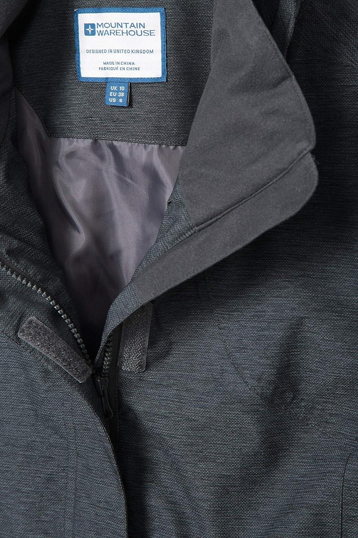 Running /& Camping Waterproof Ladies Jacket Mountain Warehouse Shore Womens Textured Jacket for Walking Pockets Breathable Taped Seams Raincoat Adjustable Fit