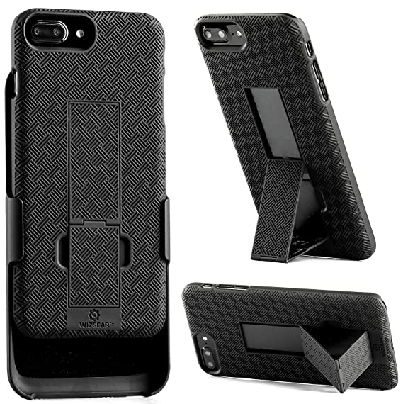 newest 296cc 0887b iPhone 8 Plus, iPhone 7 Plus Holster, WizGear Shell Holster Combo Case for  Apple iPhone 7 Plus with Kick-Stand and Belt Clip - Black (iPhone 7/8 Plus)