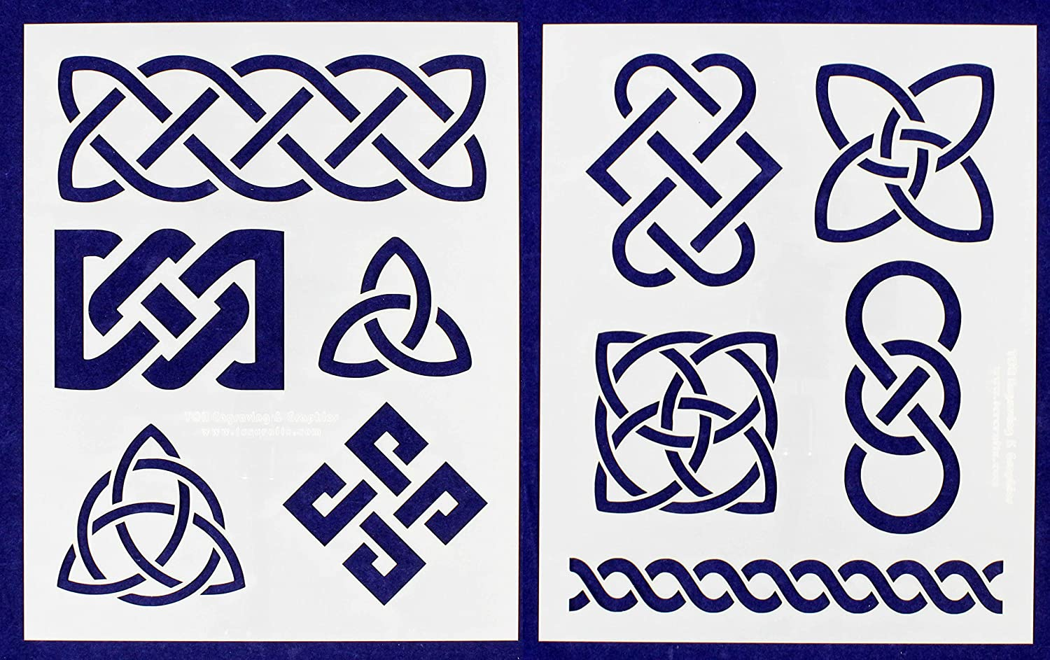 Celtic Knot Stencils 8 X 10 Mylar 2 Pieces of 14 Mil - Painting /Crafts/ Templates TCR Engraving & Graphics