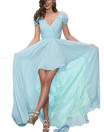 FTBY Womens V-Neck Chiffon Hi-Lo Evening Dresses Prom Dresses Short Sleeve 016