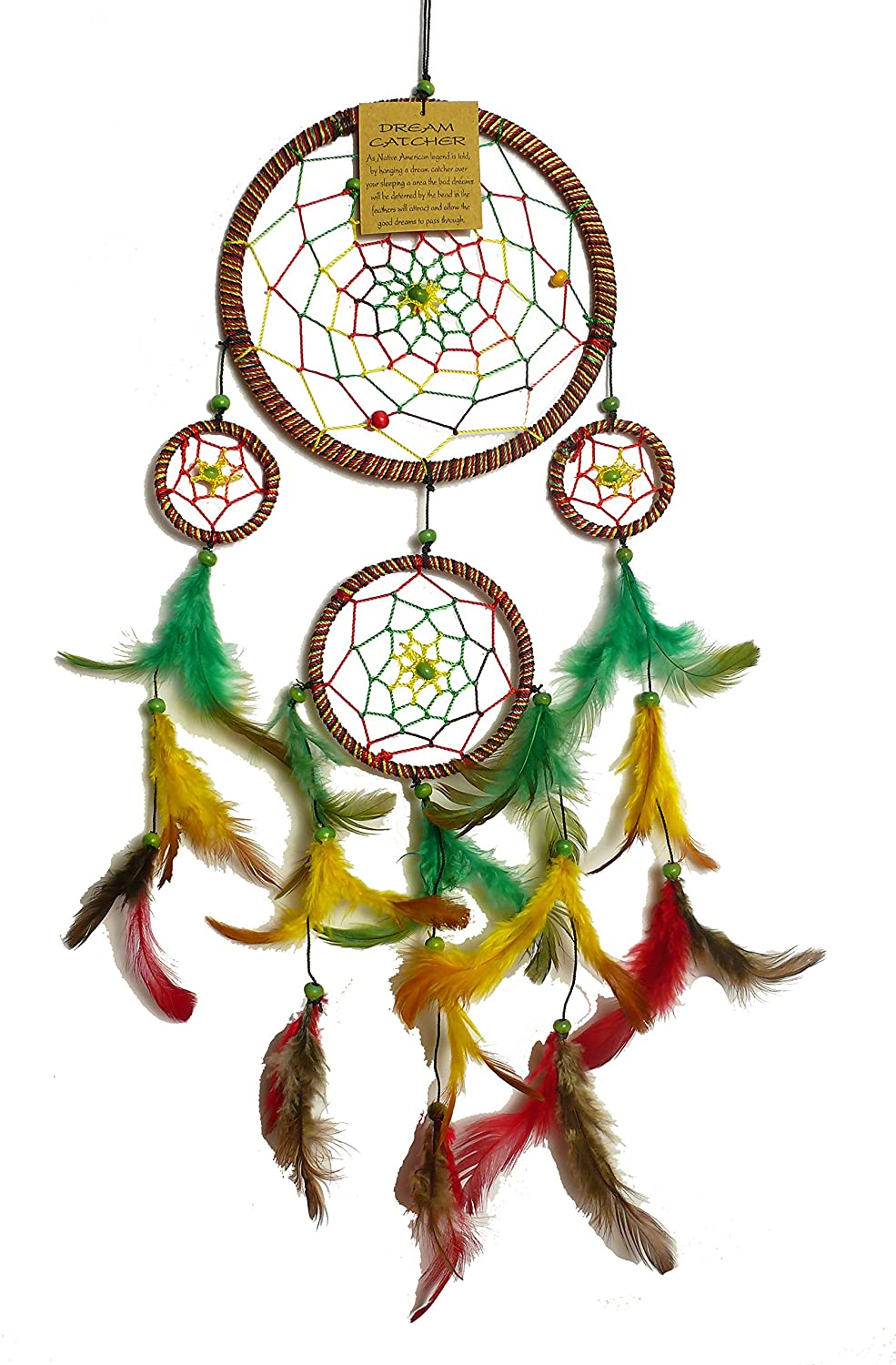 Dream Catcher, Dreamcatcher Jamaica Good Dream, 13 Centimeter Diameter, Yellow, Green, Red vendo