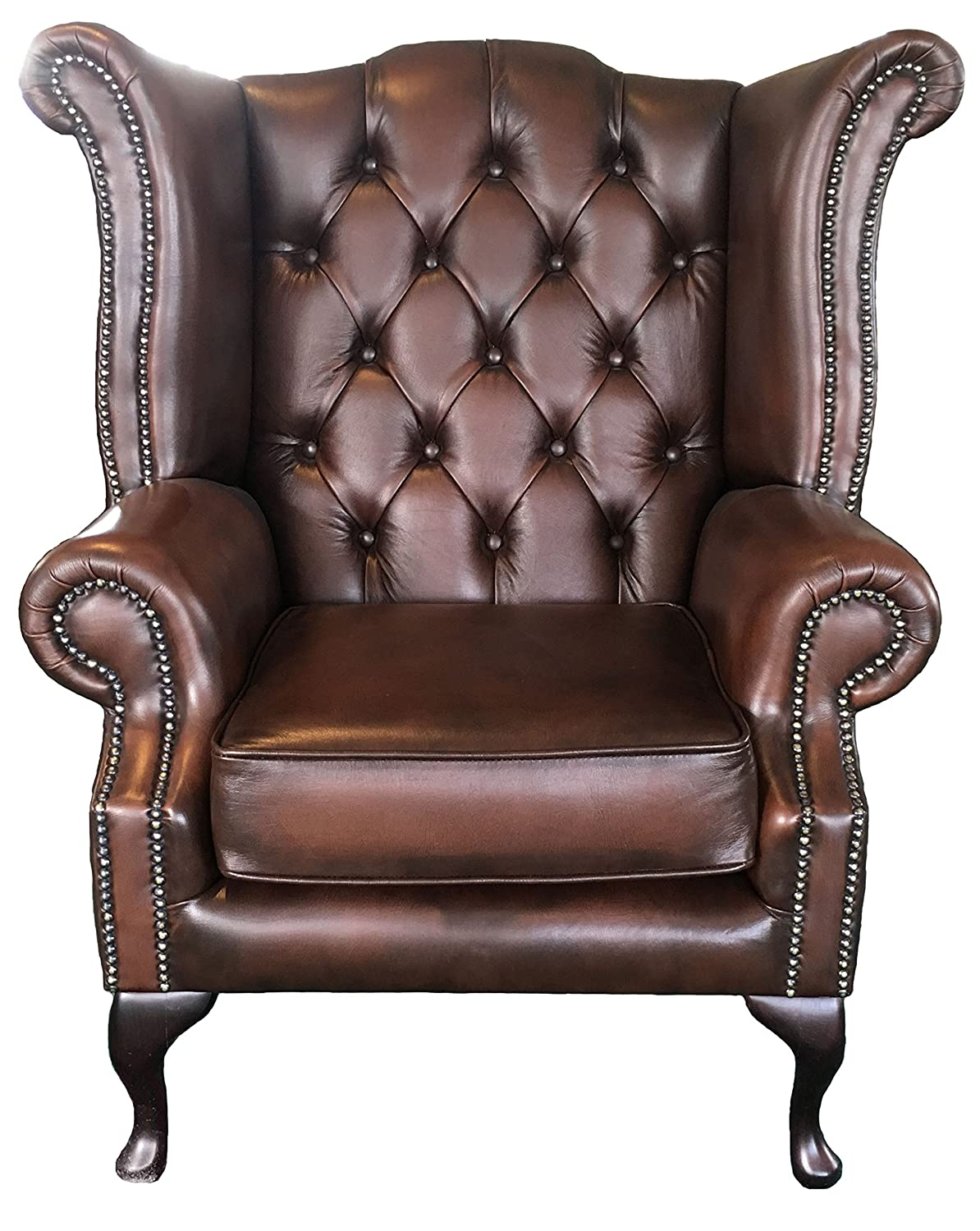 Chairs Home, Furniture & Diy The Best Luxury Comfort Handmade Chesterfield Style Leather Wingback Armchair Oxblood Red