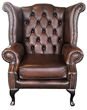 Delicieux Chesterfield Antique Brown Genuine Leather Queen Anne Armchair