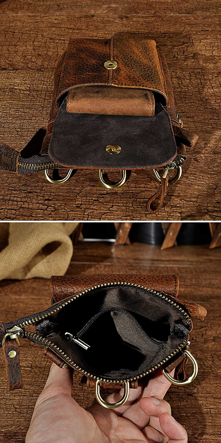 The Black Leaokuu Men Genuine Leather Small Hook Phone Pouch Bum Waist Messenger Bag Pack