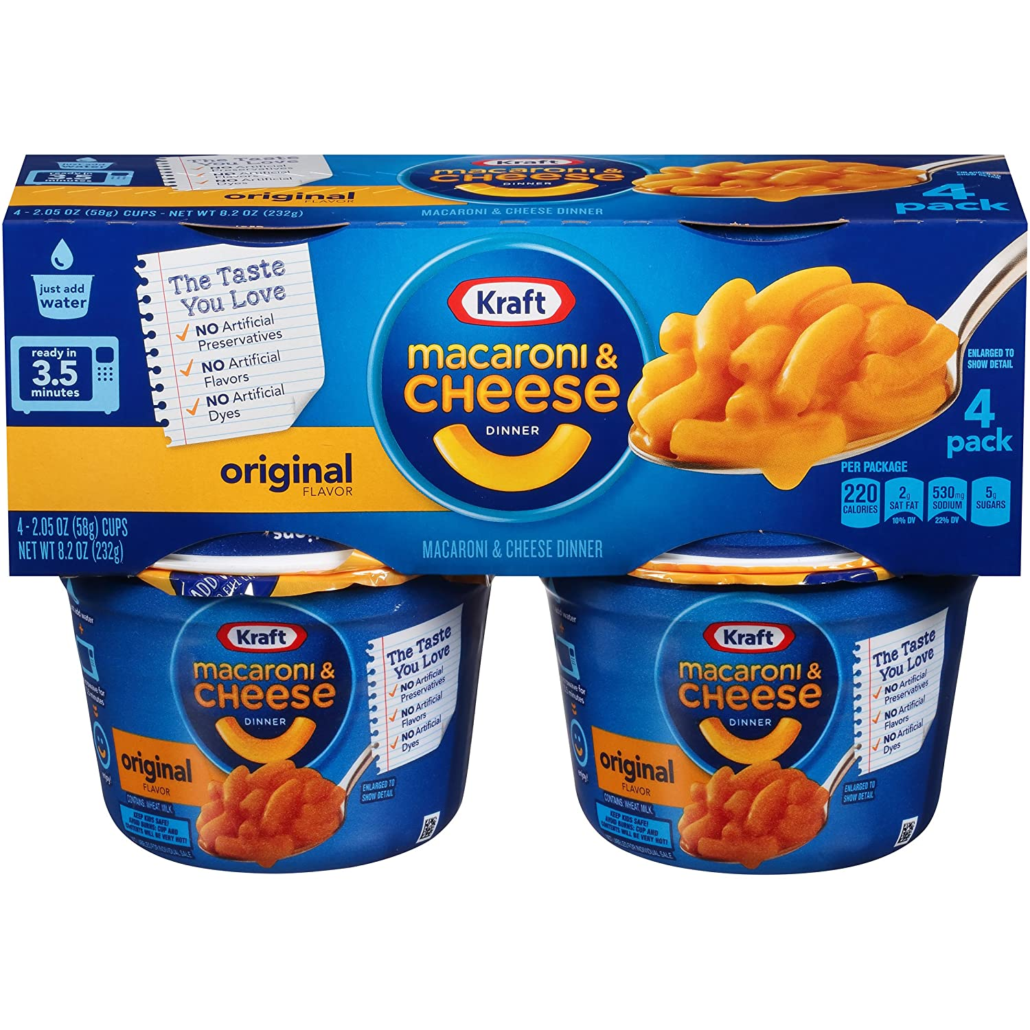 Kraft Easy Mac Original Flavor Macaroni and Cheese, 4 ct - 8.2 oz Package (Pack of 6)