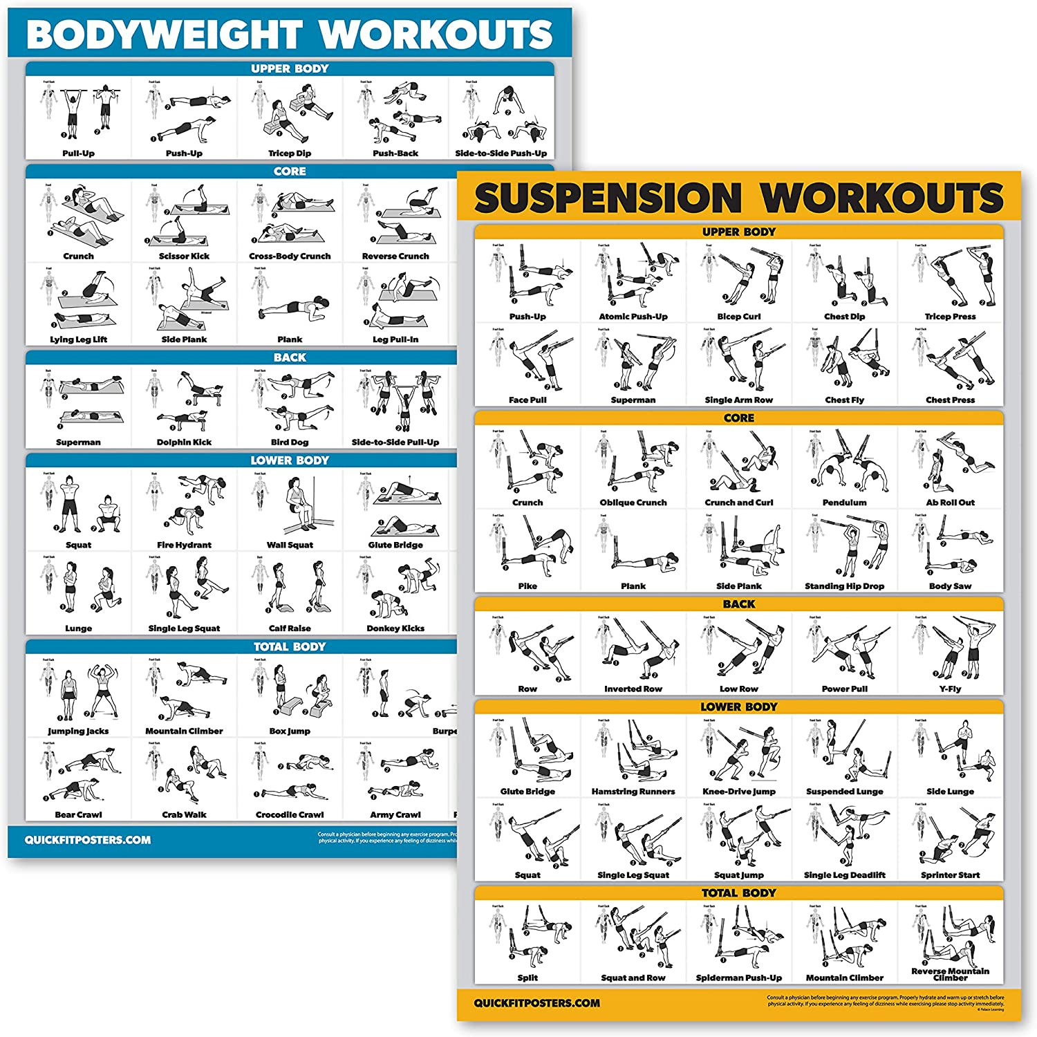 PQZATX Bodyweight Exercise Poster Set Laminated 2 Chart Set Men and Women Body Weight Workouts for Home GYM Fitness