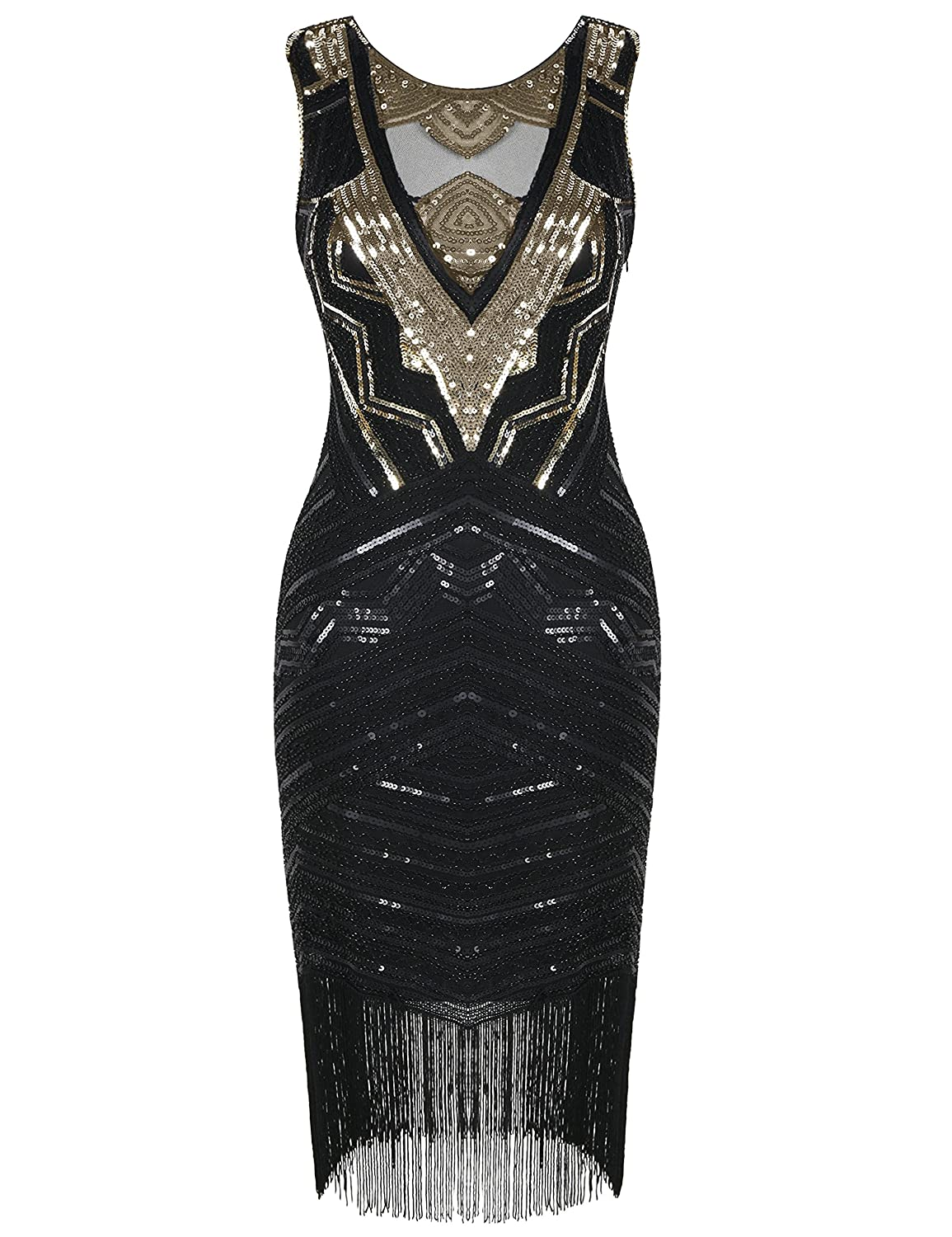 PrettyGuide Damen 20er Jahre Gatsby Kleid Paillette Cocktail Flapper ...