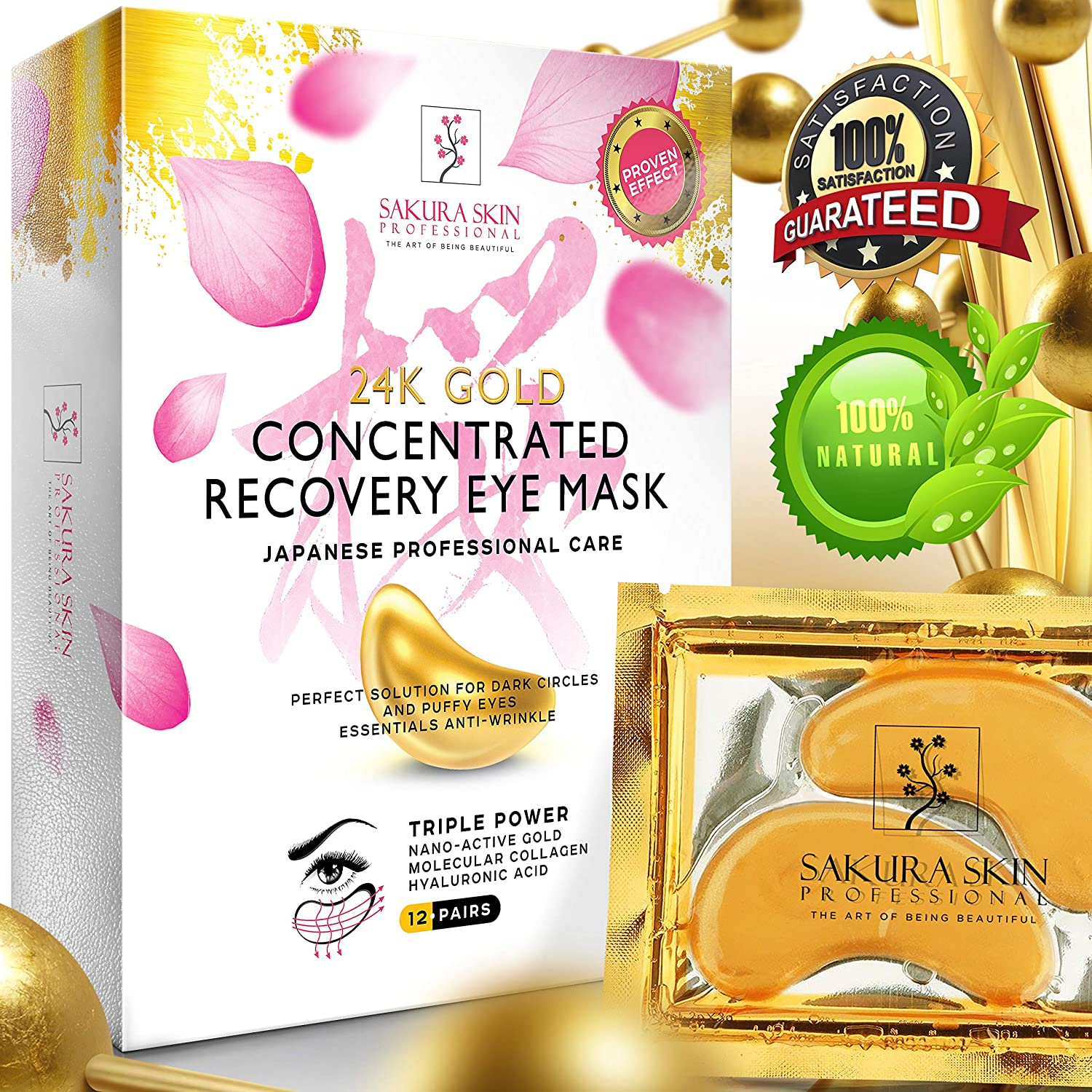 SWISSÖKOLAB Under Eye Mask Gold Eye Mask Anti-Aging Hyaluronic Acid 24k Gold Eye Patches Collagen Face Care Under Eye Pads Treatment Moisturizing Reducing Dark Circles Puffiness Wrinkles Men Women