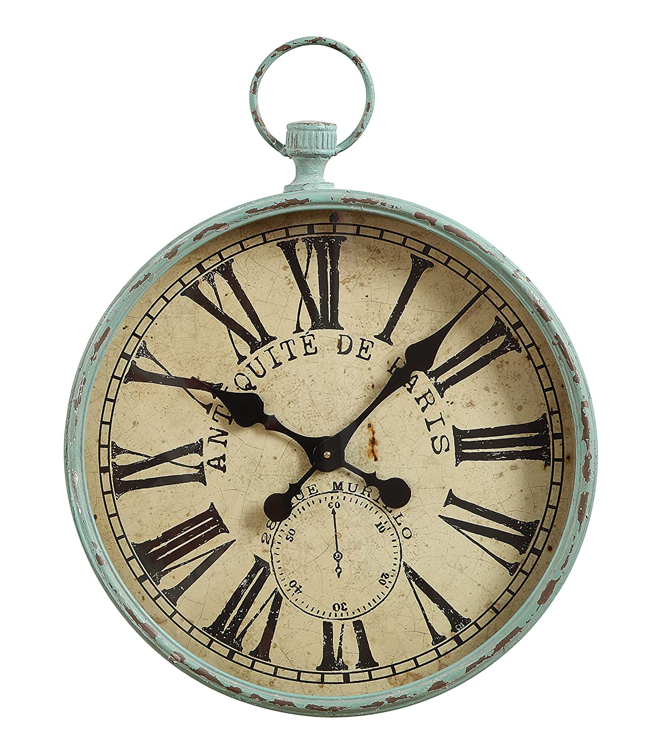 Antiqued metal Paris pocket watch wall clock for French country, French farmhouse and European country style interiors.