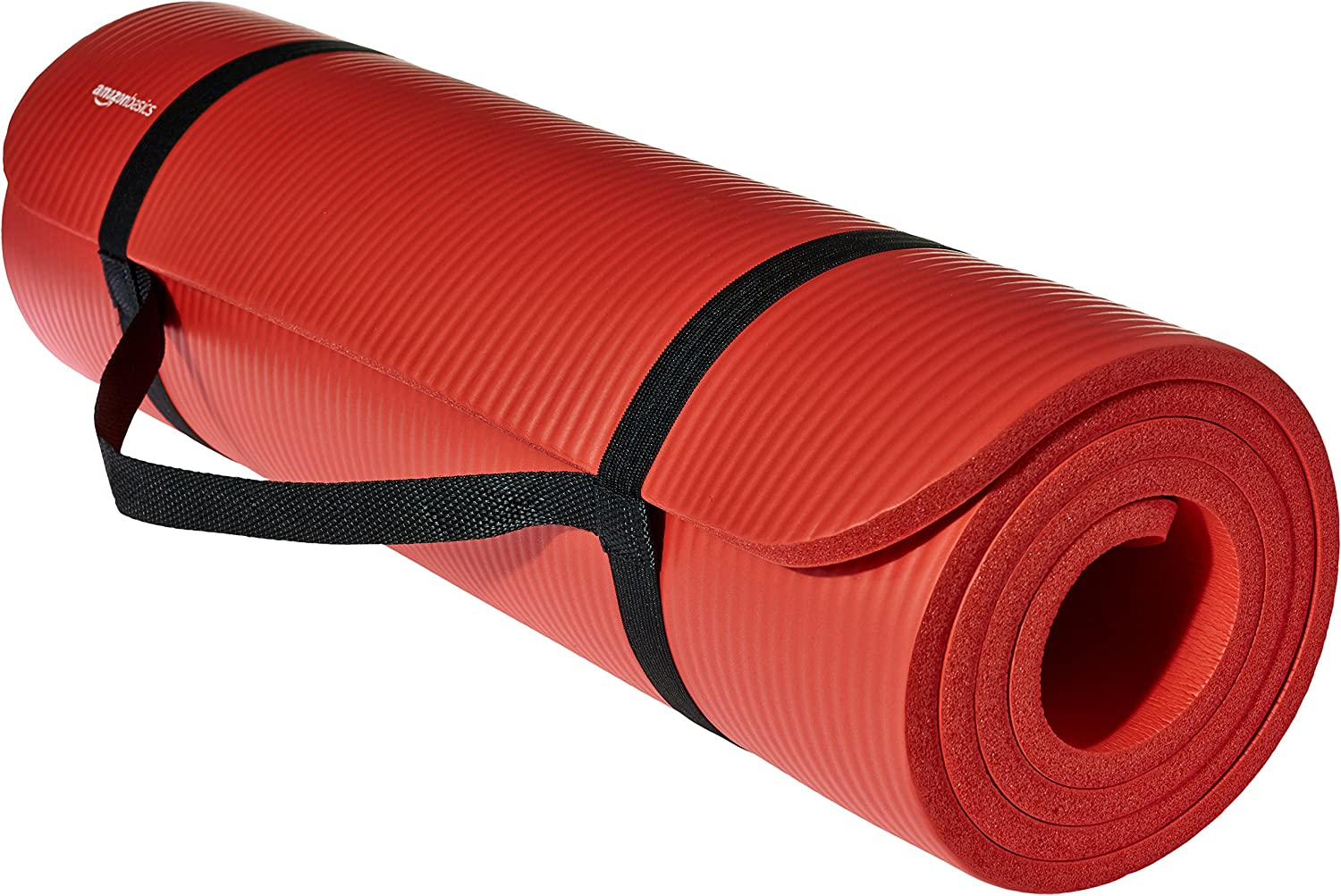 Basics Extra Thick Exercise Yoga Gym Floor Mat with Carrying Strap - 74 x 24 x .5 Inches, Black : Sports & Outdoors