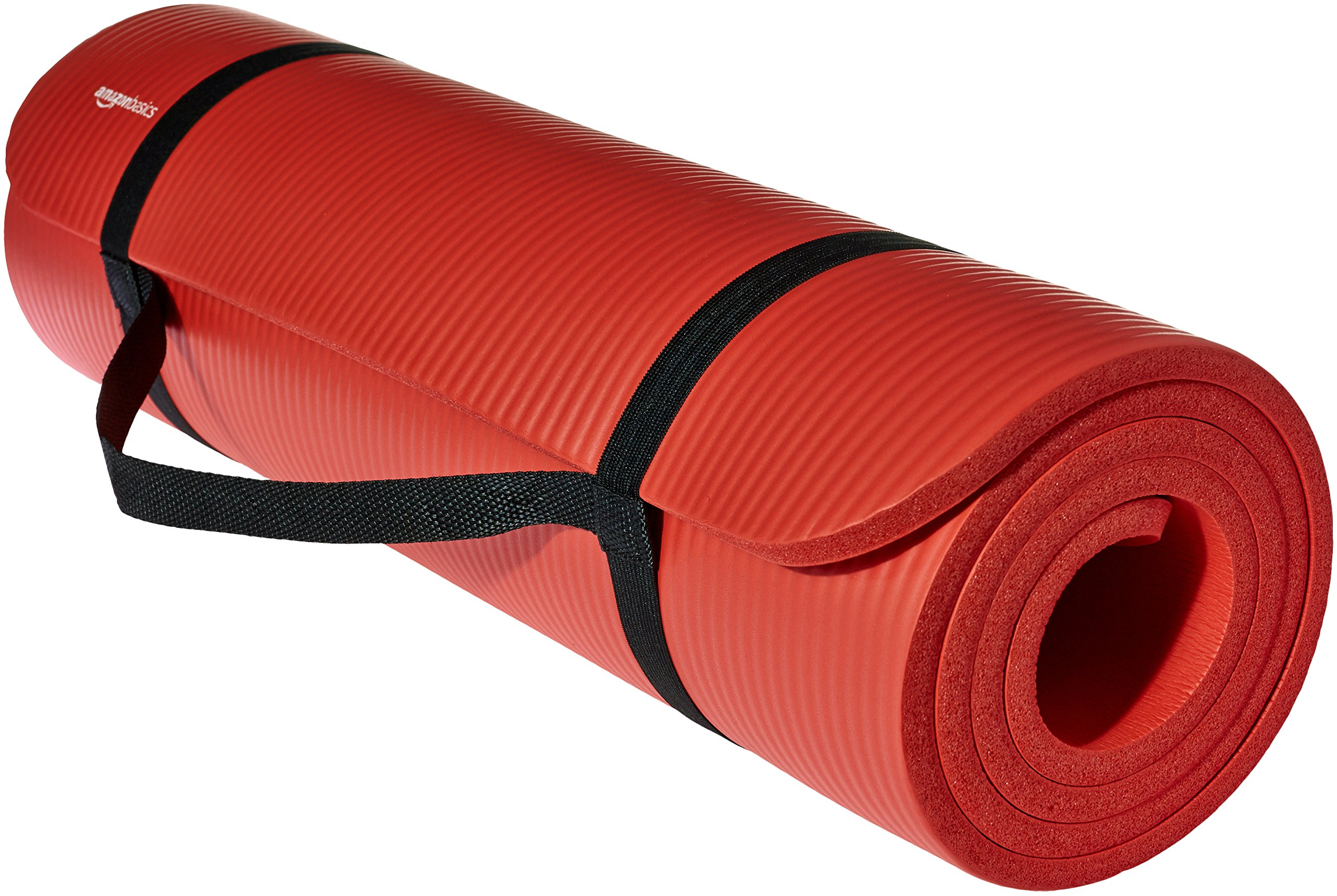 AmazonBasics Extra Thick Exercise Yoga Gym Floor Mat with Carrying Strap - 74 x 24 x .5 Inches, Red
