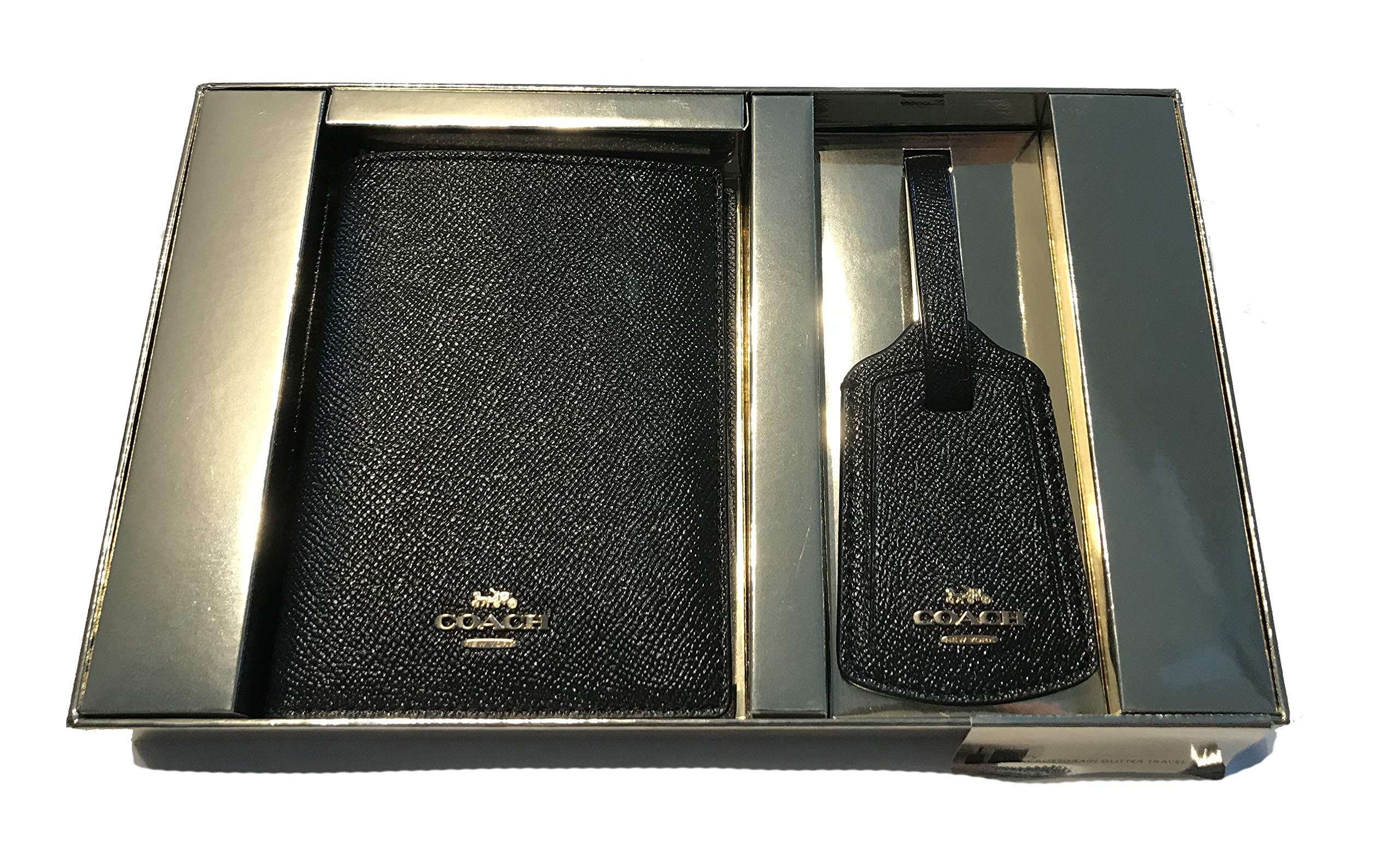 Coach Passport Case With Leather Luggage Tag Travel Gift Box Set