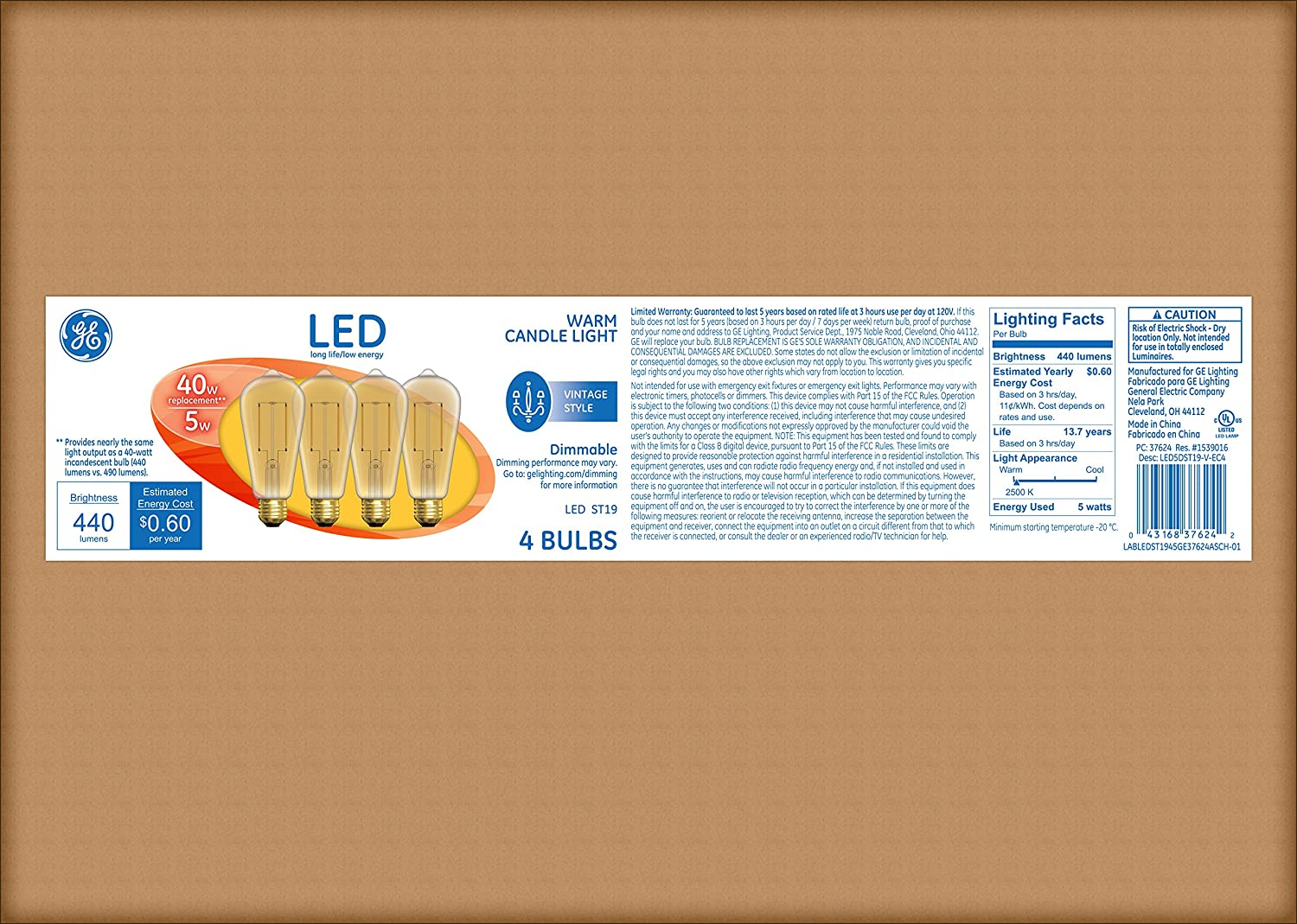 ge lighting 33024 dimmable led vintage st19 light bulb with medium