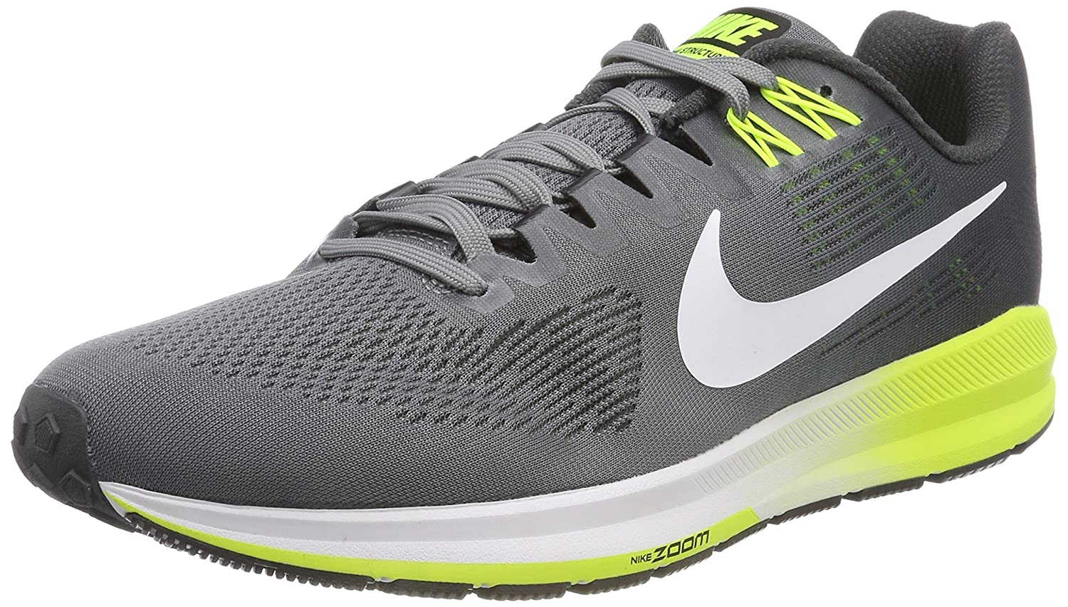 c2699cf1af1a NIKE Men s Air Zoom Structure 21 Running Shoe Wide (2E) Cool  Grey White-Anthracite-Volt