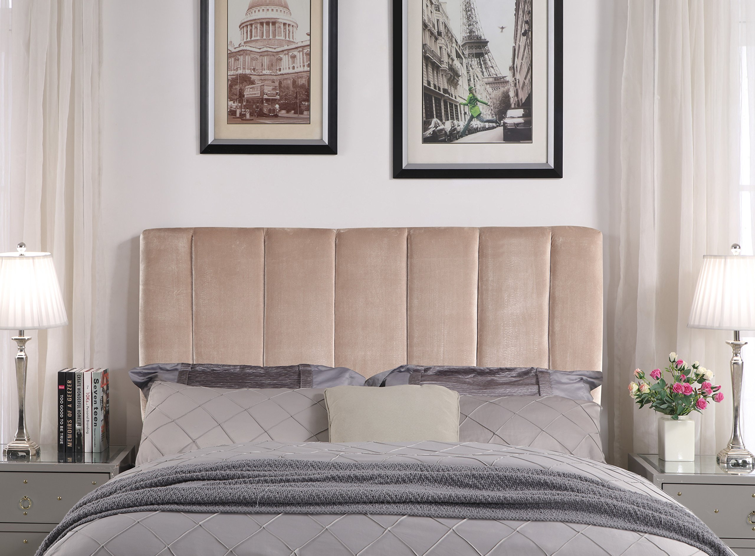 Iconic Home Uriella Headboard Velvet Upholstered Vertical Striped Modern Transitional Full/, Queen, Taupe by Iconic Home