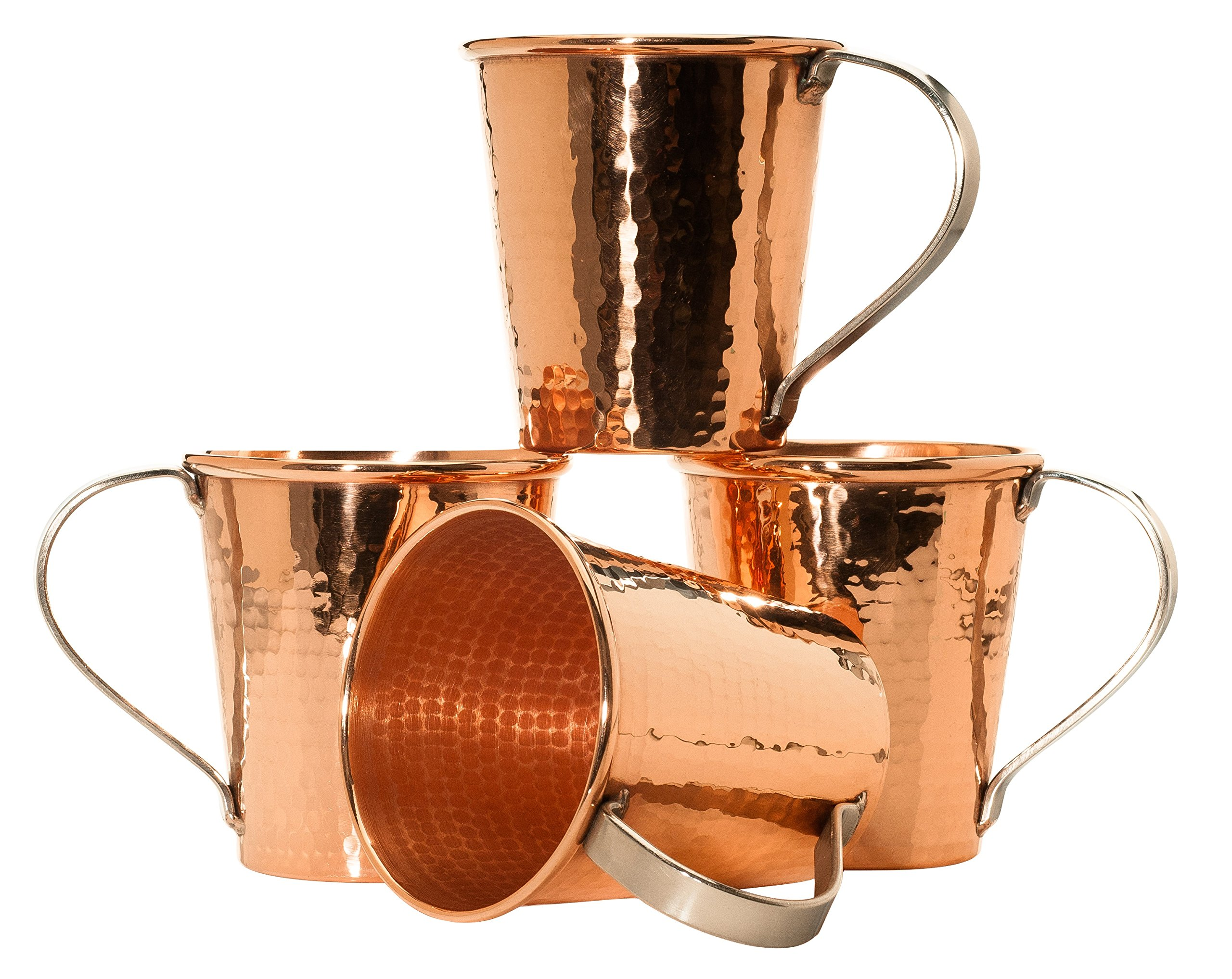 Sertodo Copper, Hand Hammered Pure Copper, Moscow Mule Mug  18 Ounce, Set of 4