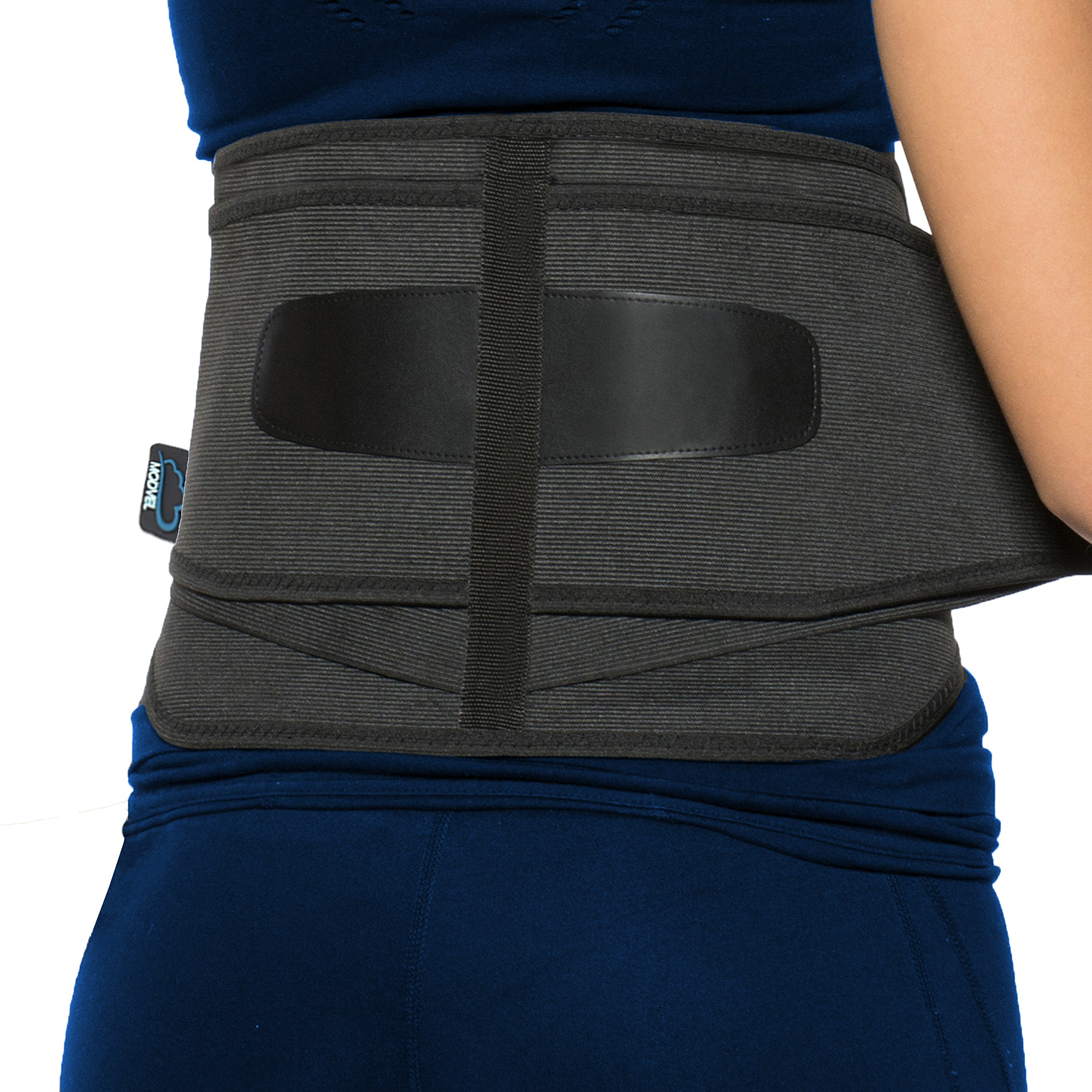 Modvel Lower Back Lumbar Support Brace for Men and Women - Orthopedic Posture Corrector Brace Belt Design - Relieving Back Pain - Great for Employees at Work, Desk Jobs, Standing Jobs. S/M/L (MV-119)