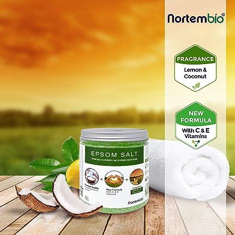 Nortembio Sal de Epsom 750 g. Novedosa Fragancia de Limón y Coco. Hidratada con Vitamina C y E. Sales de Baño y Cuidado Personal.: Amazon.es: Hogar