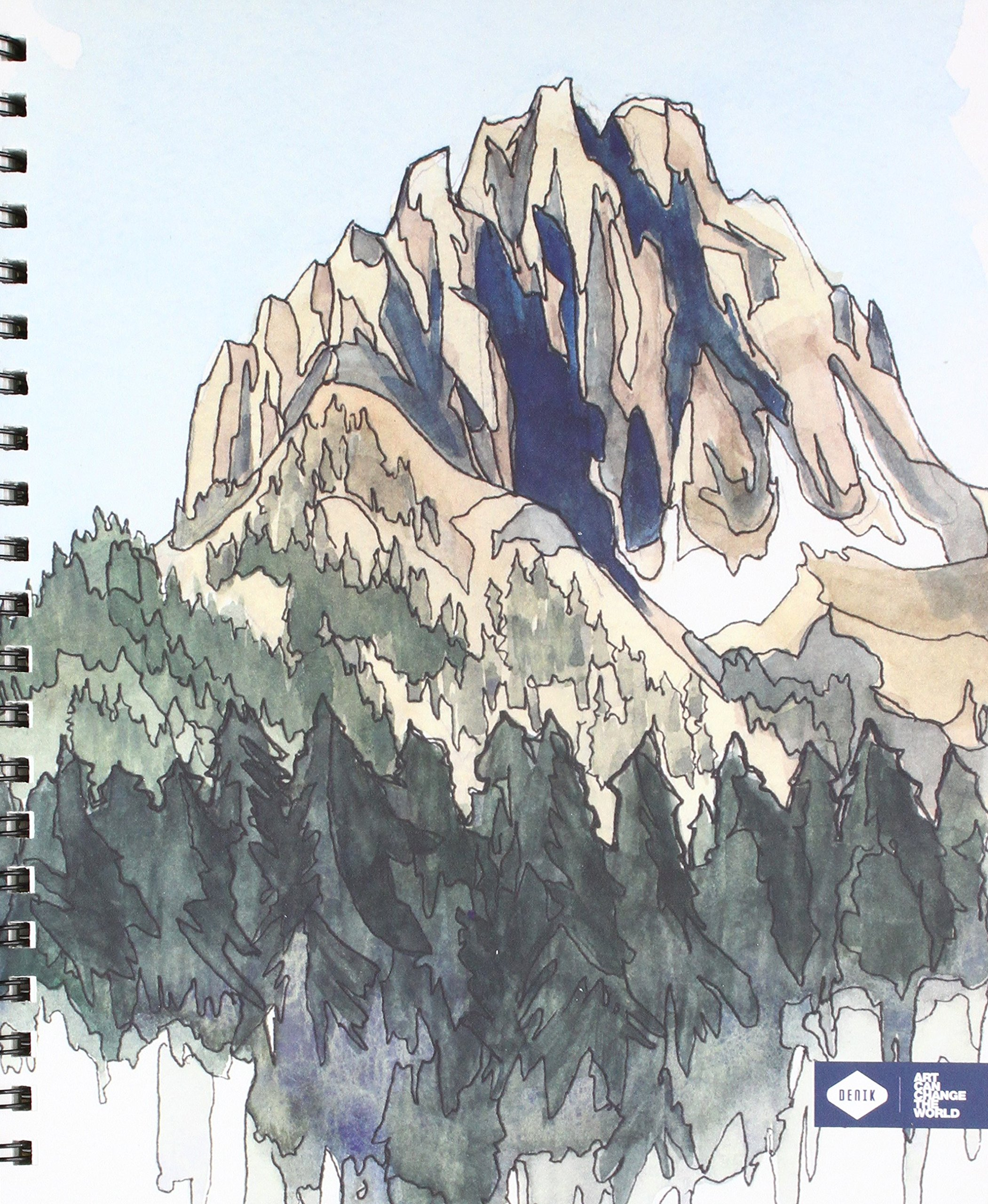 Denik Spiral Artist Sketchbook, Drawing Mountains, 75 blank sheets, 9''x11''