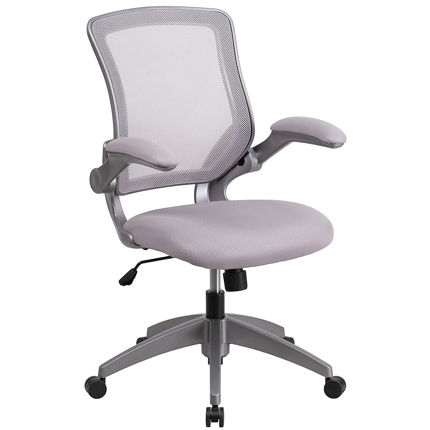 Amazon.com: Flash Furniture Mid Back Gray Mesh Swivel Task Chair With Gray  Frame And Flip Up Arms: Kitchen U0026 Dining