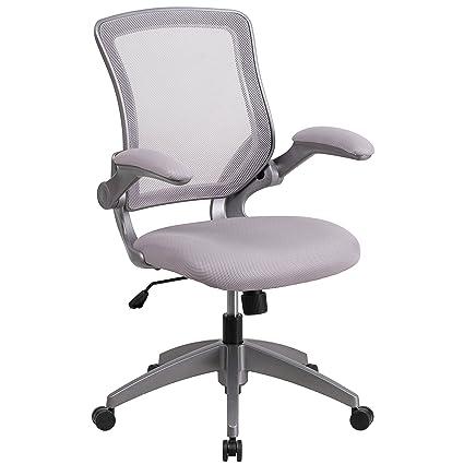 amazon com flash furniture mid back gray mesh swivel task chair